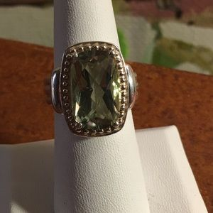 Sterling silver and 6.50 ct green quartz ring
